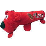 Football Plush Squeaky Tube Dog Toy Red
